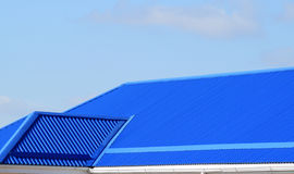 Blue roof metal sheets Stock Image