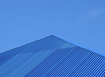 Blue roof metal sheets Royalty Free Stock Photo