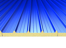 Blue Roof Panels. Roof surface consisting of a blue roof panels vector illustration