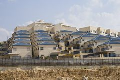 Blue roofs. In new quarter in the city of Modein in Israel Stock Photos