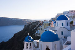 Blue roofs in Santorini Greece Royalty Free Stock Image
