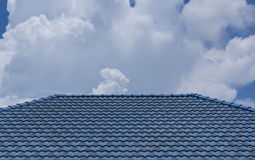 Blue rooftop against blue sky Royalty Free Stock Photos
