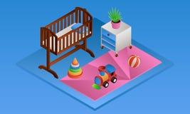 Blue room baby crib banner, isometric style vector illustration