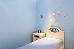 Blue room bed Royalty Free Stock Images
