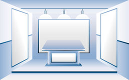 Blue Room with Blank Business Stands. An open room has 3 blank poster stands for selling an idea or product. Add your text. There is also a stand or booth in the Royalty Free Stock Photos