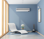 Blue room with chaise lounge Royalty Free Stock Image