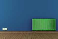 Blue room with green radiator. Green empty room with hot water radiator - rendering Royalty Free Stock Image