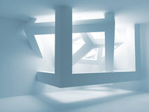Blue room interior with abstract construction Stock Photos