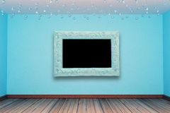 Blue room with modern frame Royalty Free Stock Images