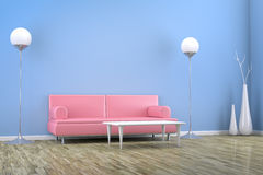 Blue room with a sofa Royalty Free Stock Images