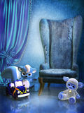 Blue room with toys stock illustration