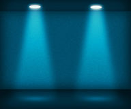 Blue Room with Two Spotlights Stock Photo