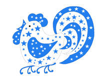 Blue rooster with the stars Stock Image