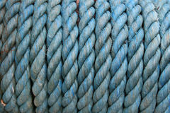 Blue rope background. Blue nylon rope on a drum royalty free stock photos