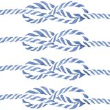 Blue rope knot  eight hand drawn watercolor Stock Images