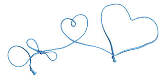Blue rope swirl with heart and bow Stock Photo