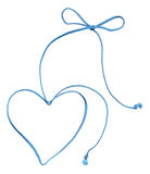 Blue rope swirl with heart and bow. Isolated on white vector illustration