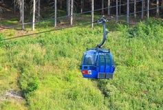 Blue ropeway at Hrabovo near town Ruzomberok Stock Image