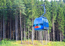 Blue ropeway at Hrabovo near town Ruzomberok Royalty Free Stock Images