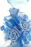 Blue Rose. Decorated with another blue flowers Stock Photo