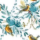 Blue rose and bird seamless pattern. Stock Photos