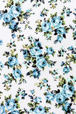 Blue rose fabric background, Fragment of colorful retro tapestry Royalty Free Stock Photos