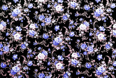 Blue Rose Fabric Background, Fragment of colorful retro tapestry Stock Photos