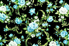 Blue rose fabric background, Fragment of colorful retro tapestry Royalty Free Stock Photo