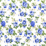 Blue Rose Fabric background, Fragment of colorful retro tapestry textile pattern with floral ornament useful as background Stock Photography
