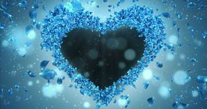 Blue Rose Flower Petals In Heart Shape Alpha Matte Loop Placeholder 4k stock footage