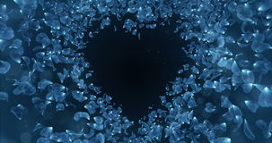 Blue Rose Flower Petals In Heart Shape Background Placeholder Loop 4k stock footage