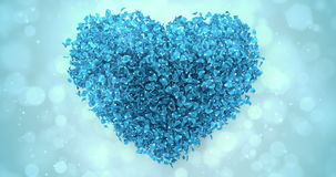 Blue Rose Flower Petals In Lovely Heart Shape Background Loop 4k stock video footage