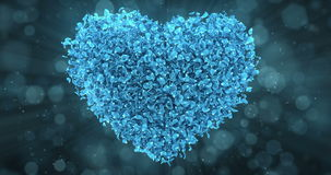 Blue Rose Flower Petals In Lovely Heart Shape Background Loop 4k stock video
