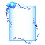 Blue Rose Frame. Gradient blue frame design with roses Stock Photography