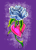 Blue rose through heart Stock Image