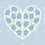 Blue rose heart. Blue rose in heart shape Vector Illustration
