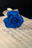 Blue rose and the music notes Stock Image