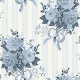 Blue Rose Vintage Wallpaper. Floral pattern Royalty Free Stock Photo