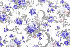 Blue rose on white fabric background, Fragment of colorful retro Royalty Free Stock Photo