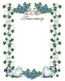 Blue Roses 25th Wedding Anniversary. Image and illustration composition for card, stationery, invitation or background with copy space Royalty Free Stock Images