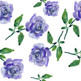Blue roses. Seamless watercolor pattern with blue roses royalty free illustration
