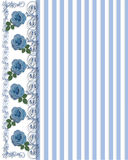 Blue Roses Border  with stripes Stock Images
