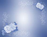 Blue Roses Border Wedding Invitation  Royalty Free Stock Photo