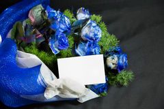 Blue roses bouquet. Bouquet with roses and greenery, white notecard Royalty Free Stock Images
