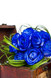 Blue roses bouquet in wooden box Stock Images