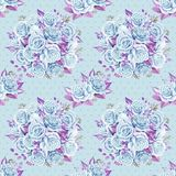 Blue roses bouquets. Watercolor illustration. Seamless pattern design paper. stock illustration