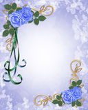 Blue Roses Floral Border invitation stock illustration