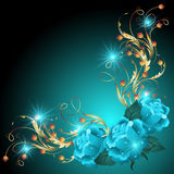 Blue roses with golden ornament. And glowing stars royalty free illustration