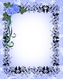 Blue Roses Ornamental Border. Blue Roses on ornamental frame Illustration composition for birthday party, wedding invitation, background, card or stationery with royalty free illustration