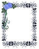 Blue Roses Ornamental Invitation Border. Blue Roses on ornamental frame Illustration composition for birthday party, wedding invitation, background, card or royalty free illustration